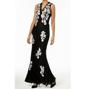 Betsy & Adam NEW Black Floral Lace Mermaid Gown